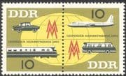 Germany 1963 Leipzig Fair/ Trains/ Planes/ Cars/ Buses/ Railway/ Transport 2v pr (n28107)
