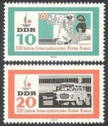 Germany 1963 Red Cross  /  Medical  /  Health  /  Ambulance  /  Motors  /  Transport 2v set (n24680)