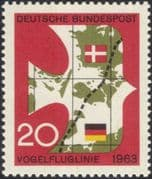Germany 1963  Vogelfluglinie/ Bird-flight Line/ Railway/ Rail/ Transport/ Birds/ Trains/ Maps 1v (n45454)