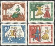 Germany 1965 Cinderella/ Fairy Tales/ Children's Stories/ Horses/ Welfare Fund 4v set (n29604)