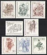 Germany 1969 Art  /  Horse  /  Bus  /  Cab  /  Transport 8v set n28296