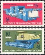 Germany 1969 Leipzig Fair/ Printing Press/ Machinery/ Combined Harvester/ Tractor/ Farming/ Industry/ Commerce 2v set (n43605)