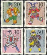 Germany 1970 Puppets/ Clown/ Jester/ Harlequin/ Welfare Fund/ Health 4v set (n44569)