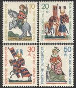 Germany 1970 Welfare  /  Horses  /  Music  /  Knights  /  Armour  /  Singing  /  Animals 4v set (n39105)