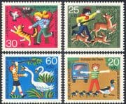Germany 1972 Child Welfare/ Animals/ Birds/ Cat/ Lorry/ Ducks/ Animation 4v set (n27935)