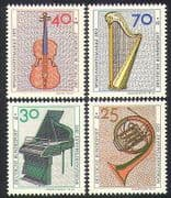 Germany 1973 Music  /  Instruments  /  Violin  /  Piano  /  French Horn  /  Harp 4v set (n36463)