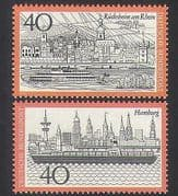 Germany 1973 Tourism  /  Boats  /  Buildings  /  Ships  /  Ferry  /  Animation 2v set (n35402)