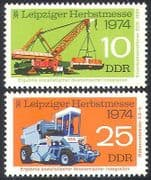 Germany 1974 Train  /  Crane  /  Tractor  /  Rail 2v set (n27583)