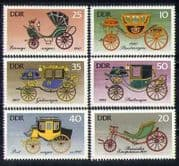 Germany 1976 Carriages  /  Coaches  /  Transport  /  Horse-drawn Vehicles 6v set (n28051)