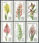 Germany 1976 Orchids  /  Flowers  /  Plants  /  Nature  /  Orchid  /  Wild Flowers 6v set (b228)