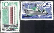 Germany 1976 Trawler/ Ship/ Transport/ Housing/ Flats/ Building/ Architecture/ Leipzig Fair/ Fishing Industry/ Commerce 2v set (n28780)