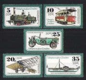 Germany 1977 Transport  /  Steam Train  /  Planes  /  Tram  /  Car  /  Ship  /  Boats 5v set (n27225)