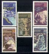 Germany 1977 Trees  /  Parks  /  Water  /  Cliffs  /  Nature  /  Rocks  /  Geology 5v set (n28053)