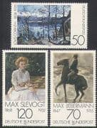 Germany 1978 Art  /  Paintings  /  Horse  /  Cat  /  Lake  /  Mountains  /  Animals 3v set (n35344)