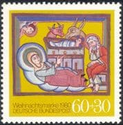 Germany 1980 Christmas/ Greetings/ Nativity/ Art/ Painting/ Cattle/ Donkey 1v (g10103)