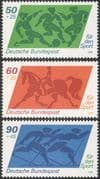 Germany 1980 Sports Fund/ Football/ Dressage/ Equestrian/ Horses/ Skiing/ Games 3v set (n27514)
