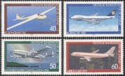 Germany 1980 Youth Welfare/ Planes/ Glider/ Aircraft/ Aviation/ Transport 4v set (n42087)