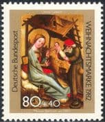 Germany 1982 Christmas/ Greetings/ Nativity/ Art/ Carving/ Donkey/ Cattle 1v (g10104)