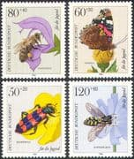 Germany 1984 Youth Welfare/ Butterfly/ Honey Bee/ Beetle/ Fly/ Insects/ Butterflies 4v set b3318