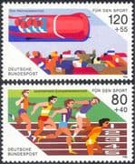 Germany 1986 Sports Fund/ Bobsleigh/ Bob Sled/ Running/ Athletics/ Animation 2v set (n27510)