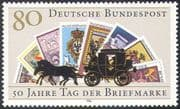 Germany 1986 Stamp Day 50th Anniversary/ Stamp-on-Stamp/ S-on-S/ Horses/ Coach/ Transport 1v (n27675)