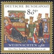 Germany 1988 Christmas/ Greetings/ Nativity/ Magi/ Kings/ Three Wise Men/ Cattle/ Donkey/ Art/ Painting 1v (g10109)