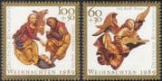 Germany 1989 Christmas/ Greetings/ Nativity/ Cattle/ Donkey/ Angel/ Lute/ Music 2v set (g10110)