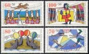 Germany 1989 Circus/ Tigers/ Sealions/ Jugglers/ Trapeze/ Animals 4v set (n27867)