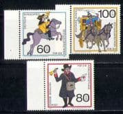 Germany 1989 Horses  /  Coach  /  Postal Transport 3v (n27936)