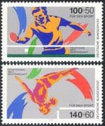 Germany 1989 Sports Fund/ Table Tennis/ Gymnastics/ Games/ Animation 2v set (n27518)