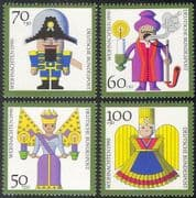 Germany 1990 Christmas/ Greetings/ Angels/ Soldier/ Animation 4v set (n27968)