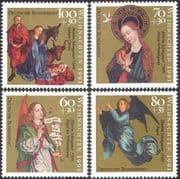 Germany 1991 Christmas/ Nativity/ Cattle/ Stable/ Magi/ Angels/ Madonna/ Art/ Painting 4v set (n21281)
