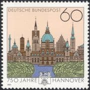 Germany 1991 Hanover/ Town Buildings/ Architecture/ Clock/ Tower/ Church 1v (n44955)