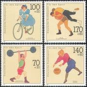 Germany 1991 Sports Fund/ Cycling/ Bikes/ Bicycles/ Basketball/ Wrestling/ Weightlifting/ Transport 4v set (n27523)