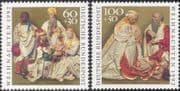 Germany 1992 Christmas/ Greetings/ Nativity/ Magi/ Kings/ Carving/ Art 2v set (g10111)