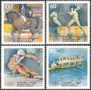 Germany 1992 Olympics/ Sports/ Games/ Horses/ Rowing/ Fencing/ Skiing 4v set (n27937)