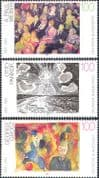 Germany 1993 Art/ Artists/ Paintings/ Sun/ Theatre/ People/ Contemporary/ Abstract/ Modern 3v set (n31290)