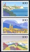 Germany 1993 Landscapes/ Harz Mountains/ Lighthouse/ Church/ Buildings/ Architecture 3v set (n21882)