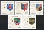 Germany 1994 Lions/ Bear/ Eagle/ Coat of Arms/ Heraldry/ Maps/ Shields/ History 5v (n31336)