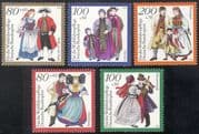 Germany 1994 Traditional Costumes/ Welfare Fund/ Clothes/ Clothing/ Textiles/ Design 5v set (n21881)