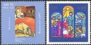 Germany 2000 Christmas/ Greetings/ Nativity/ Art/ Painting/ Shepherds/ Magi/ Cattle/ Donkey/ Animation 2v set (g10116)
