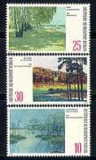 Germany (B) 1972 Art  /  Paintings  /  Lakes  /  Trees  /  Nature  /  Artists 3v set (n31289)