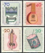 Germany (B) 1973 Music/ Instruments/ Organ/ Drum/ Lute/ Hurdy-Gurdy/ Musical Instruments 4v set (n42096)