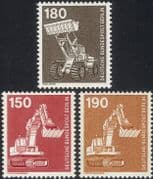 Germany (B) 1975 Industry/ Technology/ Tractors/ Shovels/ /Diggers/ Transport 3v (n27493)