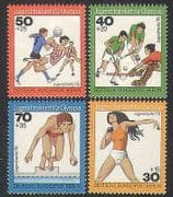 Germany (B) 1976 Youth Fund  /  Sports  /  Games  /  Handball  /  Hockey  /  Swimming 4v set n35407