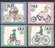 Germany (B) 1985 Bicycles  /  Bikes  /  Cycling  /  Transport  /  Youth Welfare 4v set (n35570)