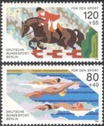 Germany (B) 1986 Sports/ Horses/ Show Jumping/ Swimming/ Animals 2v set (n25428)