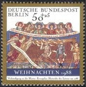 Germany (B) 1988 Christmas/ Greetings/ Art/ Painting/ Angel/ Shepherds/ Sheep 1v (g10126)