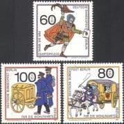 Germany (B) 1989 Relief Fund/ Post/ Mail Coach/ Horses/T ransport 3v set (n28261)
