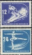 Germany (DDR) 1950 Winter Sports Meeting/ Skiing/ Skating/ Skier/ Skater 2v set (n30885)